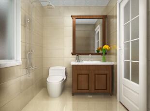 卫生间的设计比较简单,配上一抹绿植,增加了一些清新活力。 ,