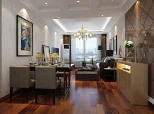 为了在视觉上面能更为舒服,视野更为宽广,电视墙美元做任何造型,主要为了考虑餐桌和客厅区域在空间视觉上面能和谐共处。,
