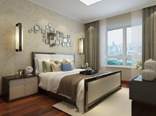 主卧,床就能说明客户自身的年龄,稳重。空间色调素雅,显得安静舒适。,