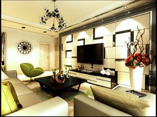 背景墙使用硬包和镜体的结合做成的,形成了一种抽象的风格,符合了现代人的审美观念,后期搭配家中的吊灯和家具,使客厅的氛围更加和谐,,
