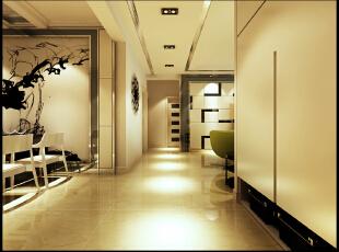 一进门的玄关柜的摆放符合整体家的协调,过道吊顶全部使用筒灯,突出家中现代简约时尚的感觉!,