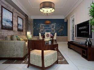 大厅中的水晶吊灯体现了现代中国风与古典欧式风的情景交融。【石家庄恒大警苑装修】96平三居室田园风格装修效果-悠闲尽美--客厅装修效果图展示,