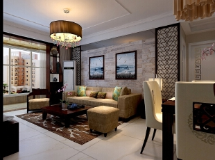 回眸大厅,黑色与暖红橙是设计师的主选色调.深色的沙发和茶几,咖啡色的纱帘与纯白色的天花板有规律的交叠,蕴含低调的中式韵味;【石家庄恒大警苑装修】96平三居室田园风格装修效果-悠闲尽美--客厅装修效果图展示,