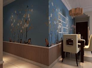 墙面使用了欧式太阳线,充分划分出上下墙的层次,让空间更有立体感。【石家庄恒大警苑装修】96平三居室田园风格装修效果-悠闲尽美--餐厅装修效果图展示,