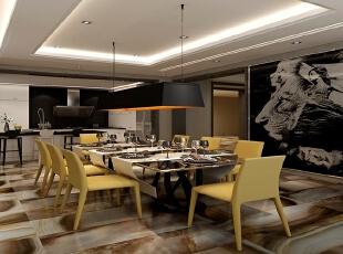 可容纳多人就餐的餐厅也是充满了设计师灵感的迸发。在现在北京别墅设计过程中,很少有设计师会大胆的将狮子这样的形象置于餐厅,狮子的野性与王道总是与餐厅的祥和温馨背道相驰。然而这幅占据正面墙体的画作却很好的融合在了现代感十足的餐厅,狮子身上柔弱的女子,也弱化了画品的阳刚之气。,