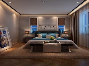 右侧的次卧室则是以蓝色见长,轻柔的窗纱营造浪漫朦胧的气息。,