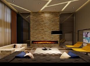 一层客厅为现代主义风格的设计格调,穿插了壁炉墙面作为古典元素的代表,运用仿古的石材做了整面的壁炉墙,壁炉墙两个侧有运用现代的茶色镜面材质做造型,两种材质形成鲜明的质感肌理对比,即古朴又奢华。,