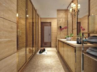 木纹黄石材与玫瑰金不锈钢、云石马赛克地面,共同营造出了既高贵又优雅的舒适空间。,
