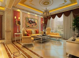 【乐豪斯装饰】远见168平三居室法式装修效果图+实景样板间--客厅效果图,