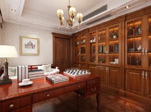 【乐豪斯装饰】远见168平三居室法式装修效果图+实景样板间--书房效果图,