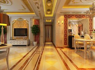 【乐豪斯装饰】远见168平三居室法式装修效果图+实景样板间--玄关效果图,