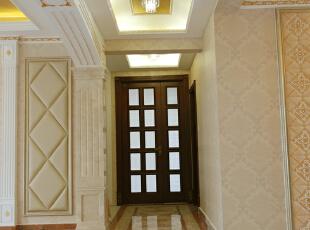 【乐豪斯装饰】远见168平三居室法式装修效果图+实景样板间--玄关样板间,