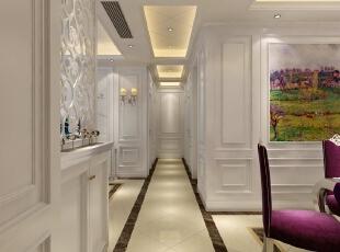 进门处的效果图,右边是餐厅,左边是客厅,