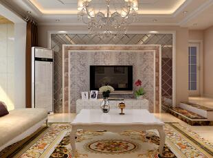 【石家庄泰丰观湖装修】泰丰观湖3号楼135.81平三居室-(混搭风格装修效果图)--客厅效果图,