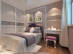 封顶大衣柜使用美观,石膏线完美划分了床和书桌的区域,木地板用在卧室温暖感倍增,亮色的梳妆椅亮丽时尚。,