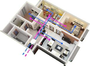 """两房两厅YAVISKANG中央新风系统安装效果图(雅伟斯康,雅威斯康) YAVISKANG(中文商标""""雅威斯康"""",""""雅伟斯康"""")中央新风系统是一款双向流换气设备,室外新鲜空气通过进风机送入室内同时污浊空气经排风机排到室外,室内室外通过热交换芯体达到能量回收。在享受24小时新鲜空气同时达到节能效果。雅伟斯康致力于改善室内空气品质,倡导健康节能新理念,用最先进的设备,最前沿的技术打造您身边的空气过滤专家。未来雅伟斯康与您共创美好生活。,客厅,餐厅,卧室,厨房,书房,儿童房,卫生间,公装,现代,简约,欧式,中式,美式,田园,宜家,"""