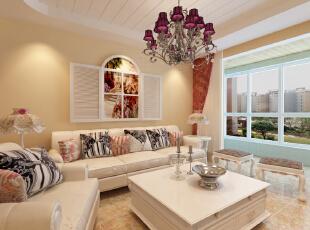乳白色的灯体,复古伞状的灯罩,加上沙发背景墙设计的挂窗,追寻着时间的印记,回味已经逝去的生活。,