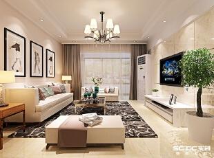 郑州实创装饰—铁道东风花园90平两居室—客厅设计,