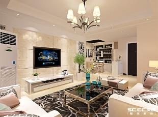 郑州实创装饰—清华大溪地89平两居室—客厅设计,