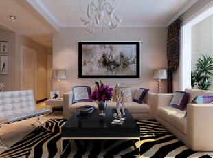 【恒新公馆装修】恒新公馆1号楼E户型135平三居室+现代简约风格装修效果图--客厅装修效果图,