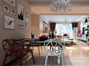 【恒新公馆装修】恒新公馆1号楼E户型135平三居室+现代简约风格装修效果图--餐厅装修效果图,