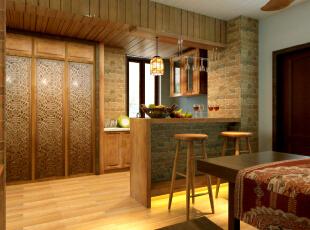 整个家采用砖砌和原木搭配,给人感觉特别淳朴和温馨,色彩鲜艳的碗碟水果和倒挂的高脚杯使得这个家又活泼起来。,
