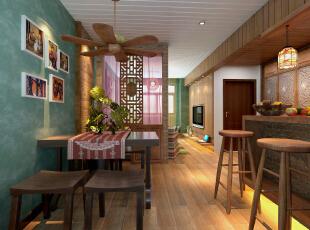 餐厅和吧台的空间,餐厅背景墙采用了墨绿色进行搭配,和客厅的墙面相呼应,使得整个家不会索然无味和单调。,