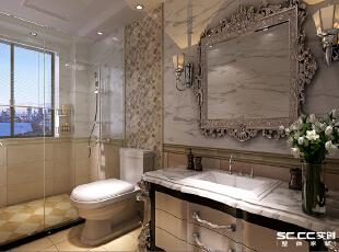 欧式的浴室柜和卫浴镜整个浴室显得更加低调奢华,而现代感浓烈的淋浴区又为房间增添了一层亲近与和谐,