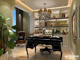 欧式的书桌与装饰画为书房增添了几分雍容华丽之感。浅青的壁纸给整个空间带来一种清新安静的感觉,