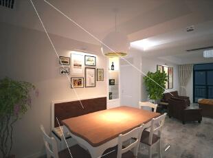 这是设计时画的餐厅客厅效果图,