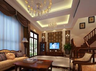 客厅是个连接内外沟通感情的主要场所,是最能体现业主生活品味和情调的地方,设计通过颜色的整体搭配和独特的造型突出了欧式的风格,