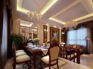 餐厅功能性强,开敞明亮。颜色搭配设计理念:餐厅是一家人共同进餐的空间,同时也是感情交流的场所。 亮点:餐厅的背景用镜面做为装饰,大气又不显沉闷,同时餐厅与客厅之间利用步入式台阶的方式区分开来,使整个空间看着更有层次。 ,
