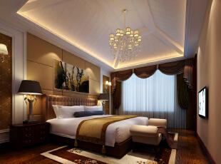 主卧室驼色温馨设计理念:人生的三分之一的时间,我们几乎是在卧室度过,卧室是一个人最后的避风港,也是每天的加油站,卧室内的环境情况会直接关系到一个人的休息和睡眠质量,因此卧室以简约为佳,使人看起来整洁舒适。 亮点:原主卧室顶面不规则并且空间很高很空旷,现在设计后的吊顶使整个空间看起来不显空旷又不降低室内的高度,整个卧室的色调以柔和的驼色为主,使得整体氛围轻松又温馨。,