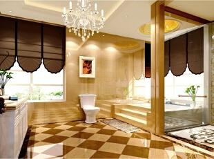 卫生间运用仿石材的砖,与整体风格保持一致。增加浴池于SPA间,满足主任对功用性强烈需求。,