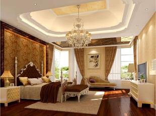 卧室空间以壁纸集护墙板为主,局部运用装饰线条。在床品家具的选择上也以新古典主义元素为主,同时搭配欧式风格的贵妃塌,方便坐倚休闲。,