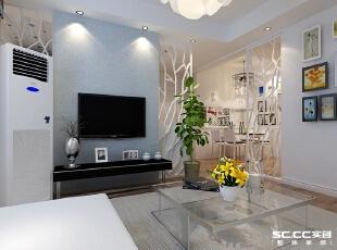 电视墙运用花格通透的形式让空间有延伸性,拉伸电视墙构造出合宜的比例架构.,