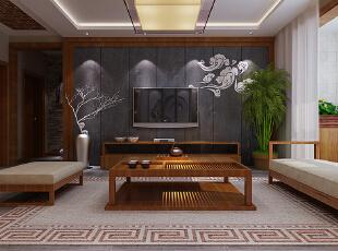 【乐豪斯装饰】昶昊悦府4号楼C户型137平三居室+新中式风格装修效果图--客厅装修效果图,