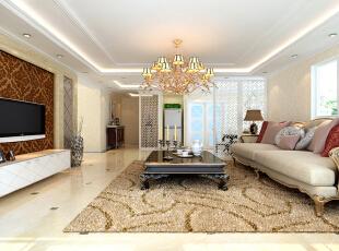 设计理念:本案为欧式风格的现代演绎,摒弃复杂的肌理与装饰,简化线条,将怀古的情怀与当代人对生活的需求相结合,兼容欧式华贵典雅与现代简约时尚。  亮点:室内墙面的壁纸、米色理石线条、精致的吊灯及饰品等,都把空间装点的无比清逸、高雅、尊贵,