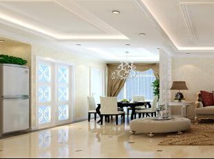 设计理念:客厅与餐厅选用了白色镂空雕花隔断,不但有了明显的分隔,还有了一种步移景异的效果。吊顶的空间分割作用发挥的淋漓尽致又一脉相承,不给人以突兀的感觉。  亮点:华丽的吊灯、黑色烤漆亚光的餐桌,既丰富了空间的层次,也使本案色彩多变、丰富,充满韵味。,