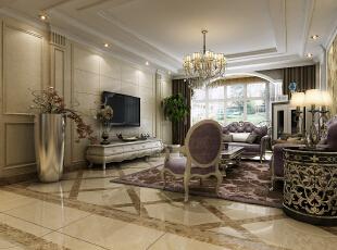 现代简欧式的设计,凝结了现代唯美的时尚与欧式的贵族与优雅,本案中设计师以典雅的壁纸来装饰沙发墙,彰显整个居室空间内的基调,空间层次感十足的吊灯,轮廓优美的沙发,显示出富丽堂皇的气质。,