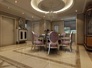 本案采用白的石膏来吊顶,层次感分明的吊灯,衬托出餐厅区域的高雅氛围,精致的餐桌与精美的高背餐椅,在空间的映衬下渲染着整个餐厅典雅高贵的氛围。,