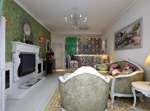 【北城国际C区装修】北城国际18号楼E户型115平三居室+简欧风格装修效果图--客厅效果图,