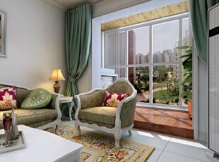 【北城国际C区装修】北城国际18号楼E户型115平三居室+简欧风格装修效果图--阳台效果图,