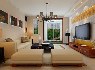 长九中心公园9号17号楼D户型127平三室混搭装修设计案例--客厅装修效果图,
