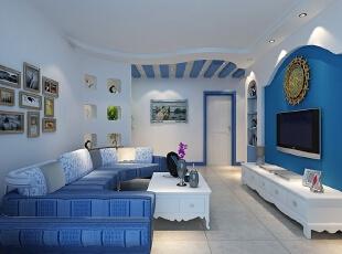 ,客厅,地中海,白色,蓝色,