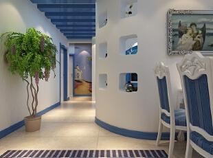 ,餐厅,地中海,白色,蓝色,