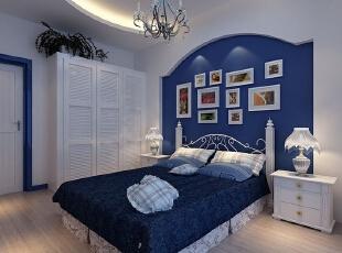 ,卧室,地中海,白色,蓝色,