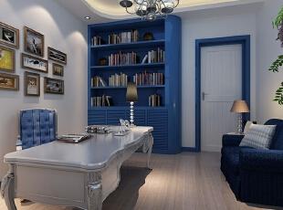 ,书房,地中海,白色,蓝色,