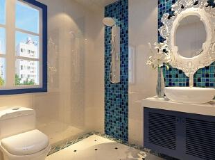 ,卫生间,地中海,白色,蓝色,