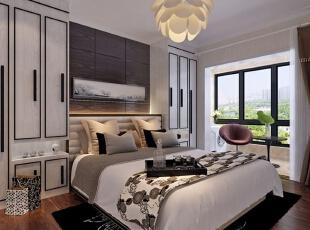 ,卧室,现代,白色,黑白,原木色,